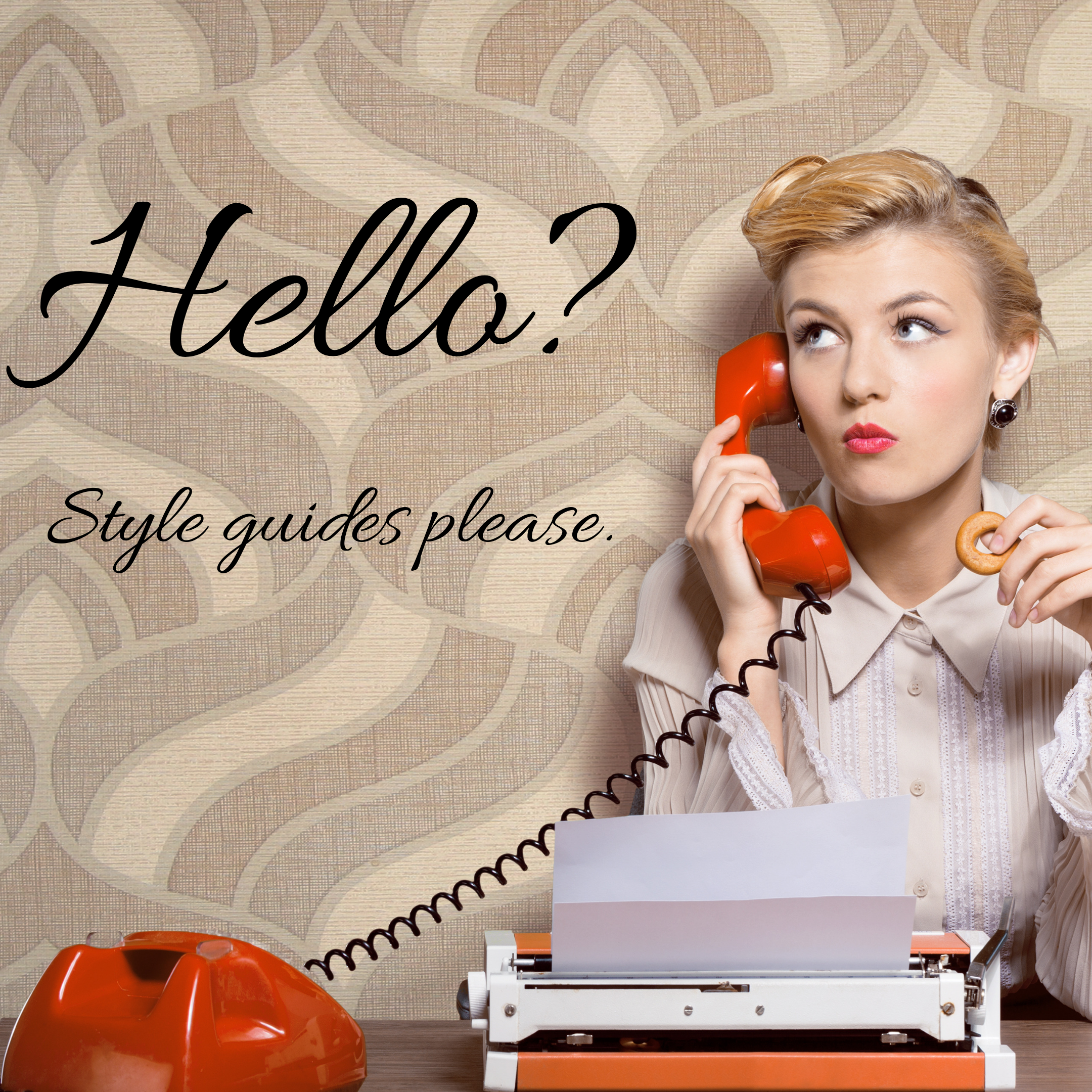 woman on the phone asking for the style guide department